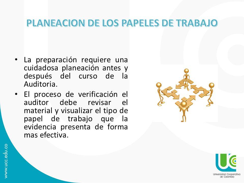 PLANEACION DE LOS PAPELES DE TRABAJO