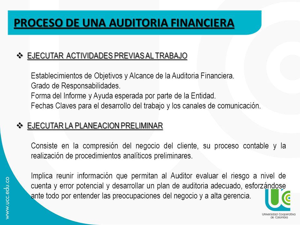 PROCESO DE UNA AUDITORIA FINANCIERA