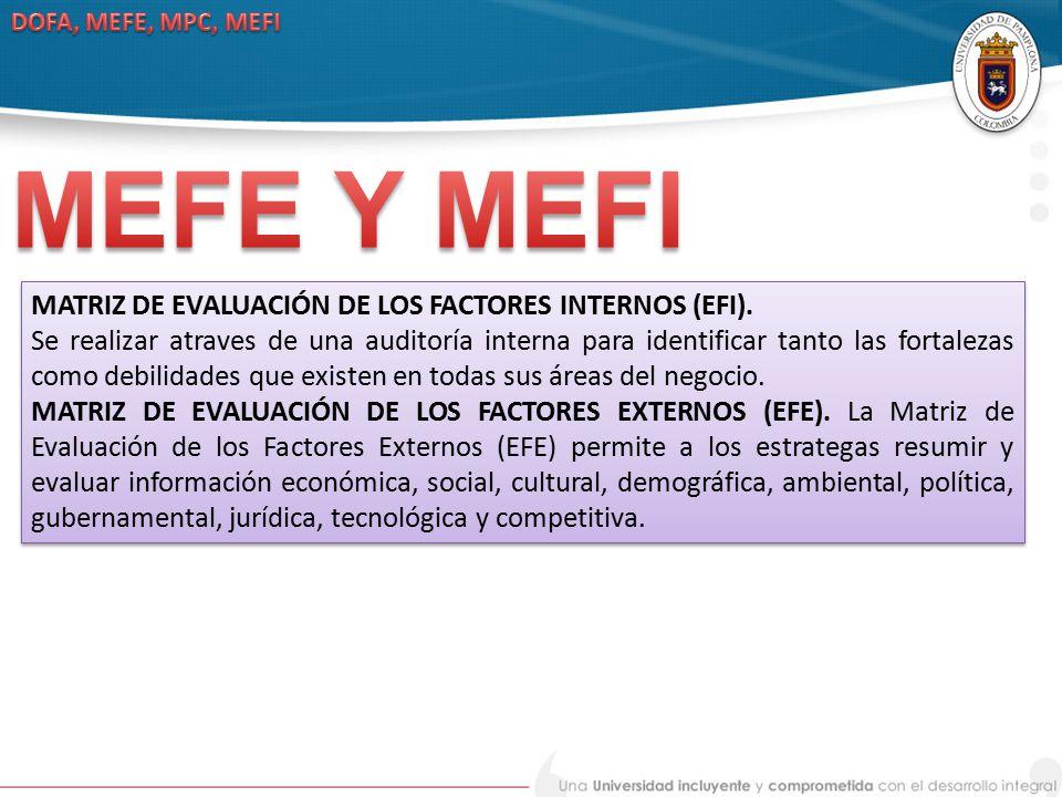 MEFE Y MEFI MATRIZ DE EVALUACIÓN DE LOS FACTORES INTERNOS (EFI).