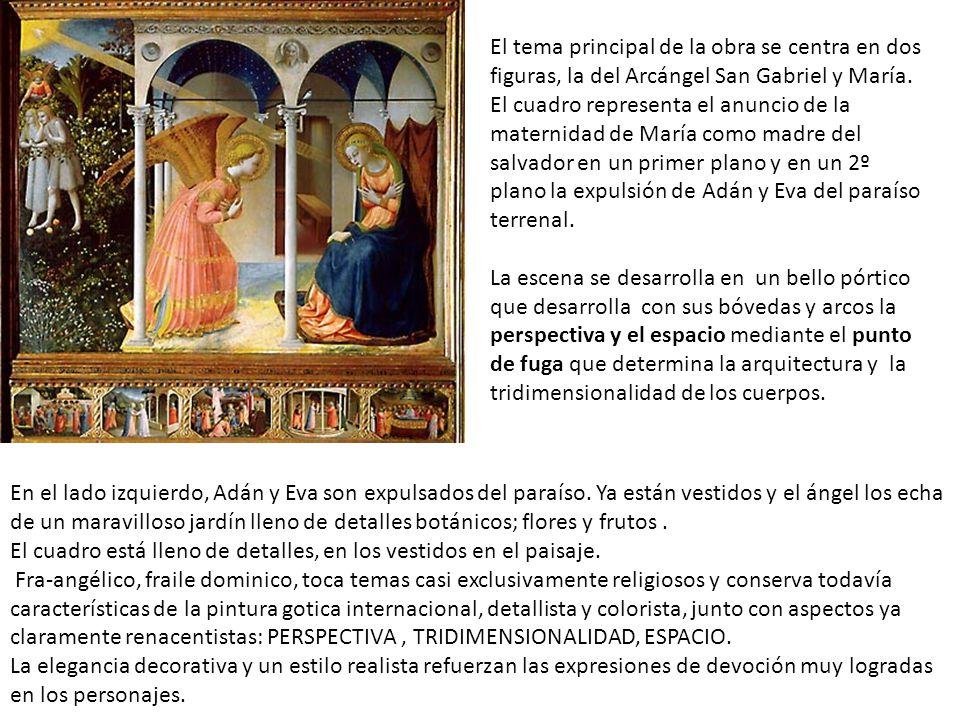El tema principal de la obra se centra en dos figuras, la del Arcángel San Gabriel y María. El cuadro representa el anuncio de la maternidad de María como madre del salvador en un primer plano y en un 2º plano la expulsión de Adán y Eva del paraíso terrenal.