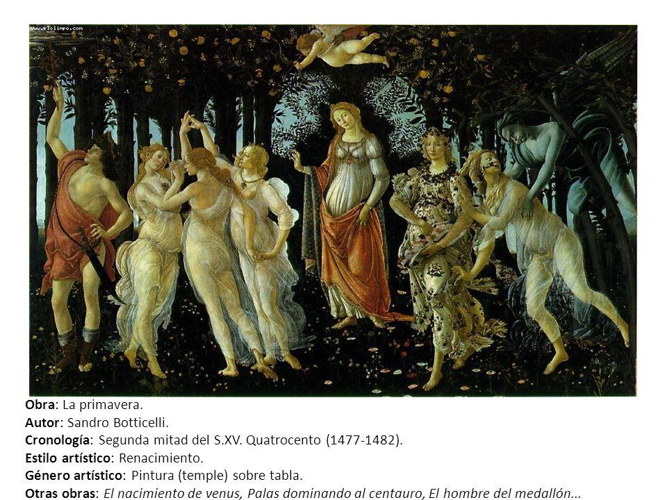 Obra: La primavera. Autor: Sandro Botticelli. Cronología: Segunda mitad del S.XV. Quatrocento (1477-1482).
