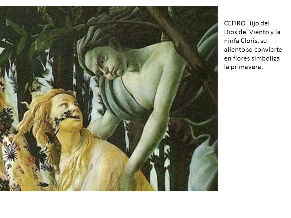 CEFIRO Hijo del Dios del Viento y la ninfa Cloris, su aliento se convierte en flores simboliza la primavera.