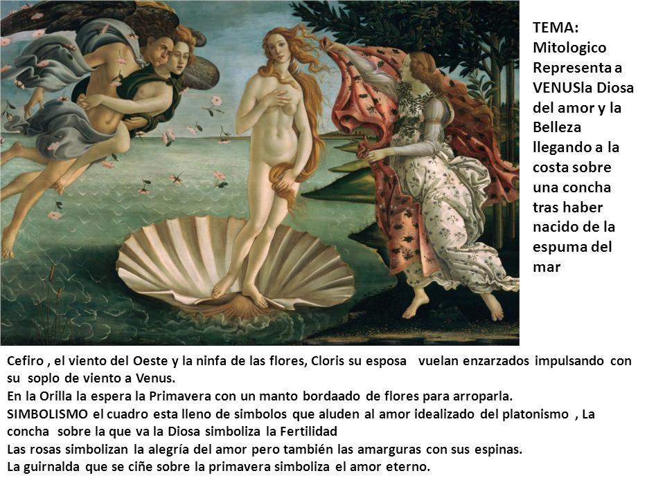 TEMA: Mitologico Representa a VENUSla Diosa del amor y la Belleza llegando a la costa sobre una concha tras haber nacido de la espuma del mar