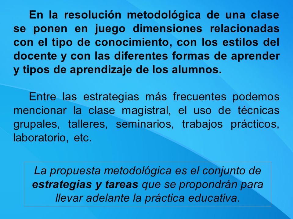 En la resolución metodológica de una clase se ponen en juego dimensiones relacionadas con el tipo de conocimiento, con los estilos del docente y con las diferentes formas de aprender y tipos de aprendizaje de los alumnos.