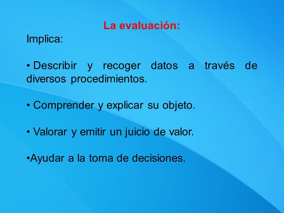 La evaluación: Implica: Describir y recoger datos a través de diversos procedimientos. Comprender y explicar su objeto.