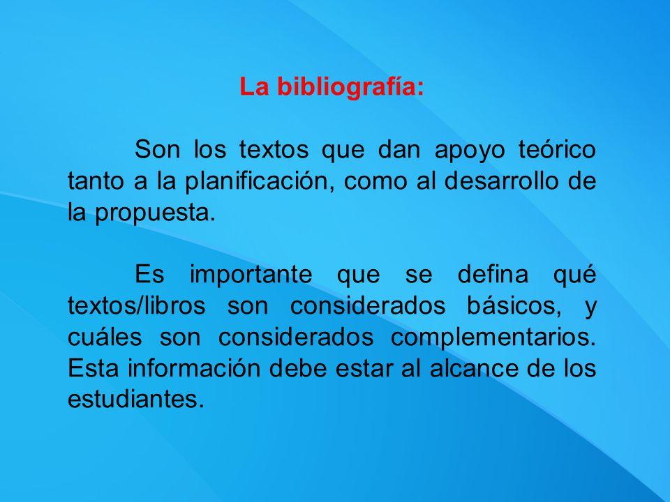 La bibliografía: Son los textos que dan apoyo teórico tanto a la planificación, como al desarrollo de la propuesta.