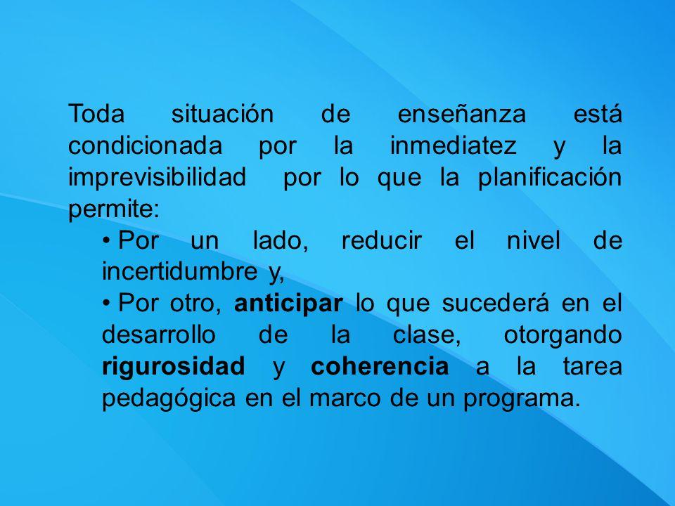 Toda situación de enseñanza está condicionada por la inmediatez y la imprevisibilidad por lo que la planificación permite: