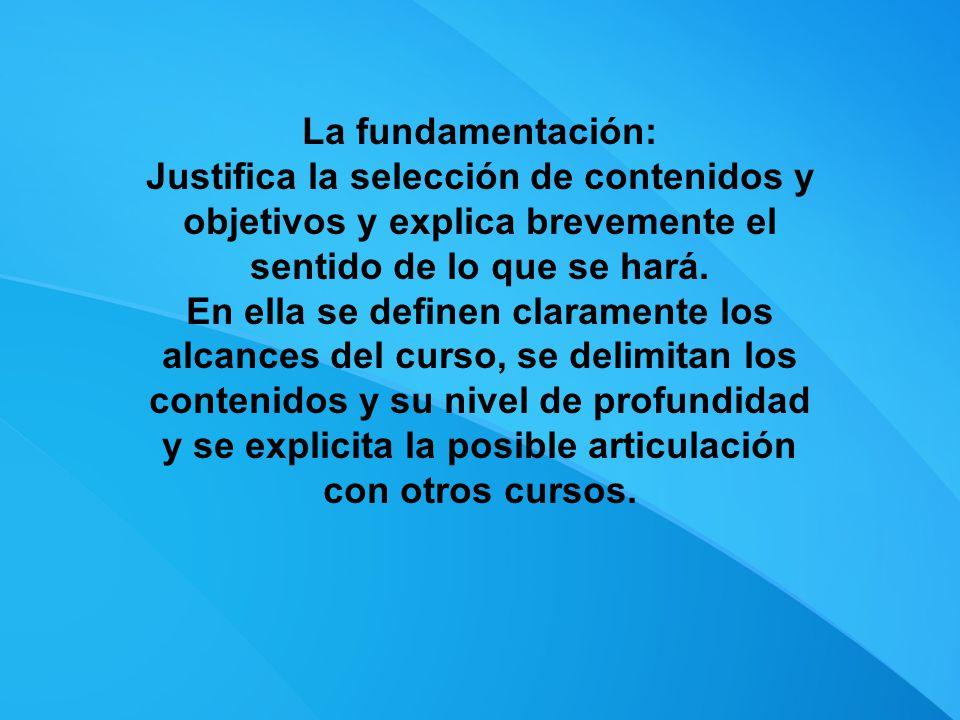 La fundamentación: Justifica la selección de contenidos y objetivos y explica brevemente el sentido de lo que se hará.