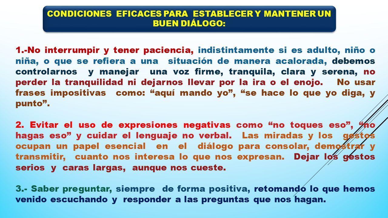 CONDICIONES EFICACES PARA ESTABLECER Y MANTENER UN BUEN DIÁLOGO: