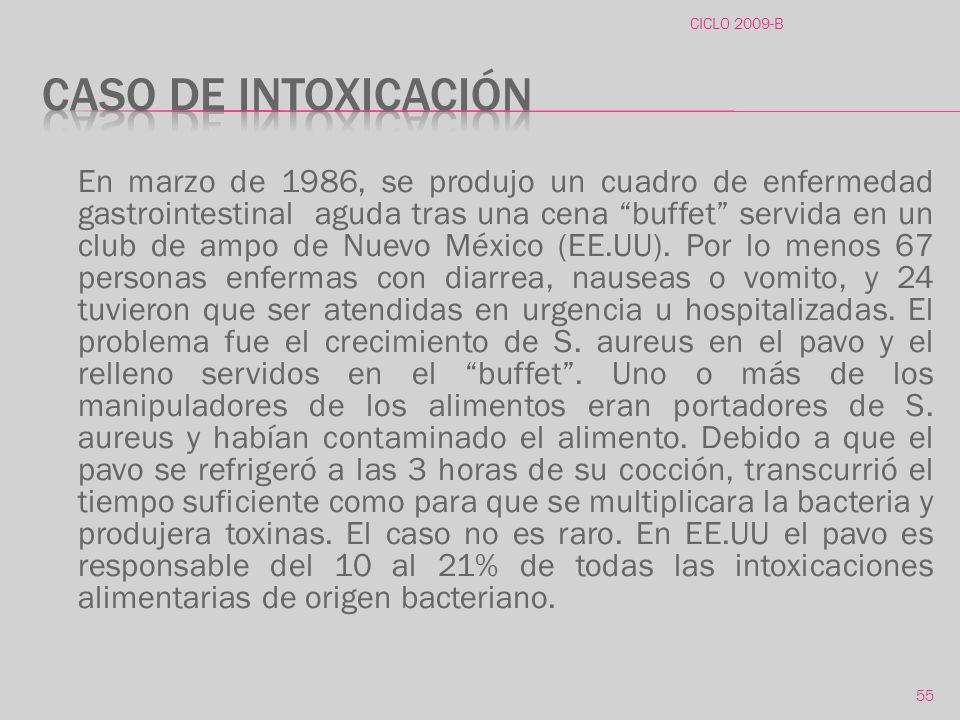 CICLO 2009-B Caso de intoxicación.