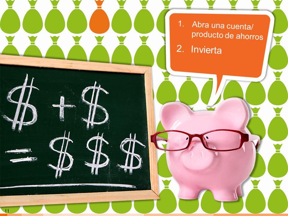 Invierta Abra una cuenta/ producto de ahorros Maneras de ahorrar