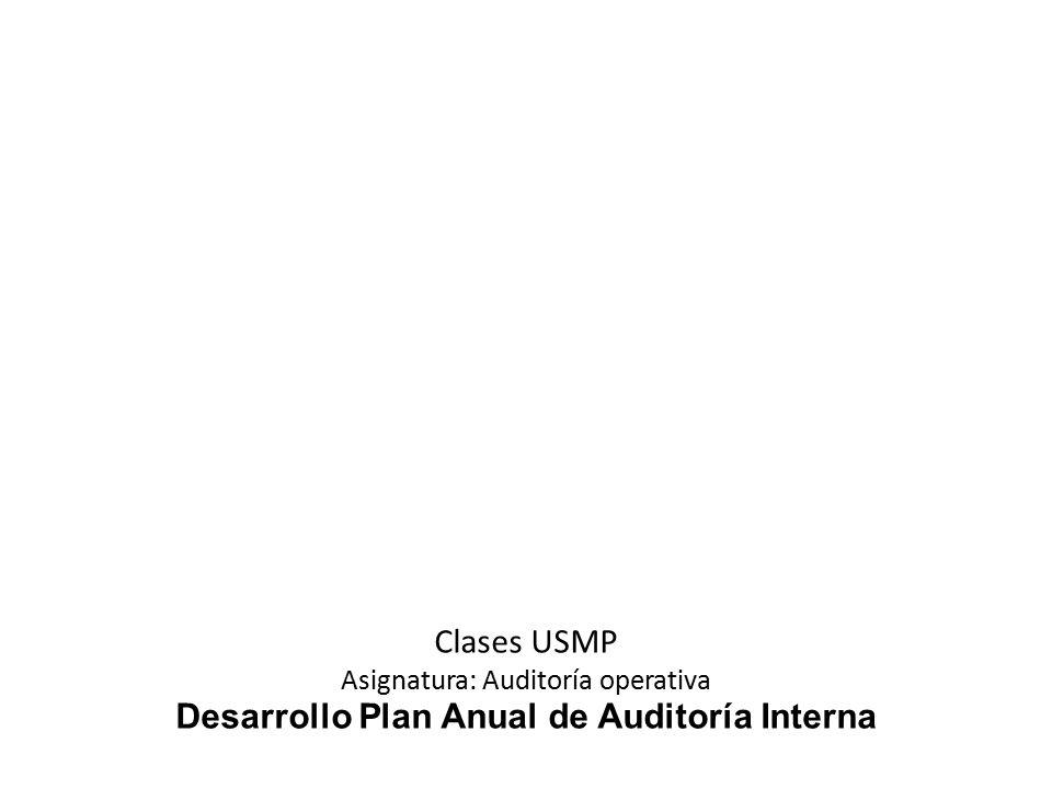 Desarrollo Plan Anual de Auditoría Interna