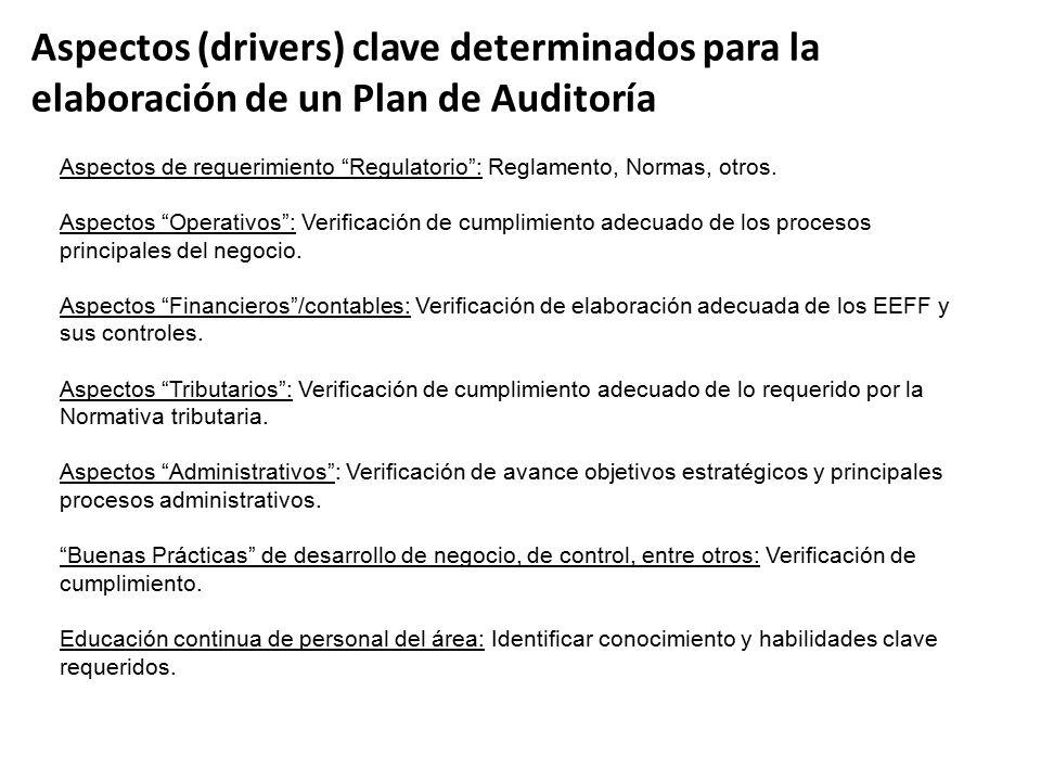 Aspectos (drivers) clave determinados para la elaboración de un Plan de Auditoría