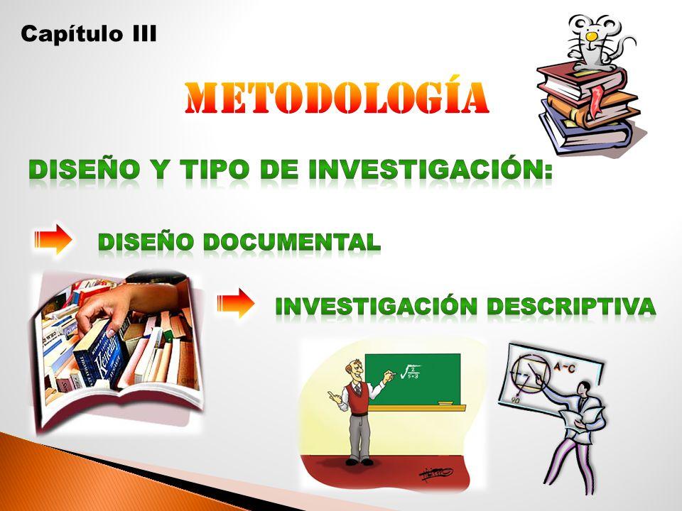 Metodología Diseño y Tipo de Investigación: Capítulo III