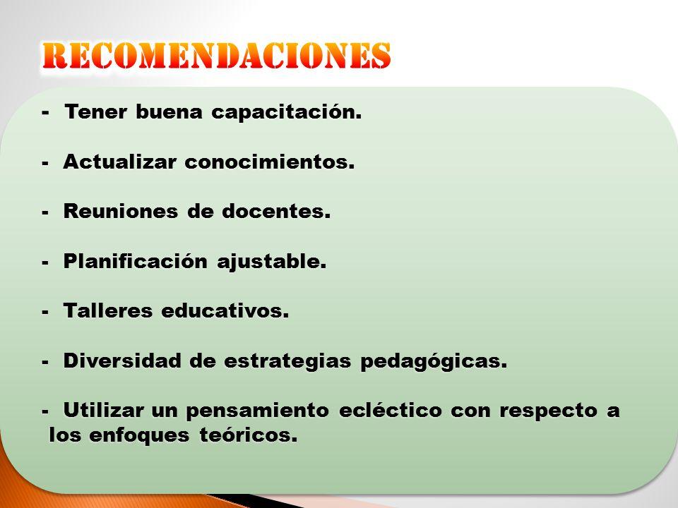 recomendaciones Tener buena capacitación. Actualizar conocimientos.