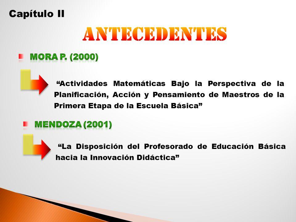 antecedentes Capítulo II Mora p. (2000) Mendoza (2001)