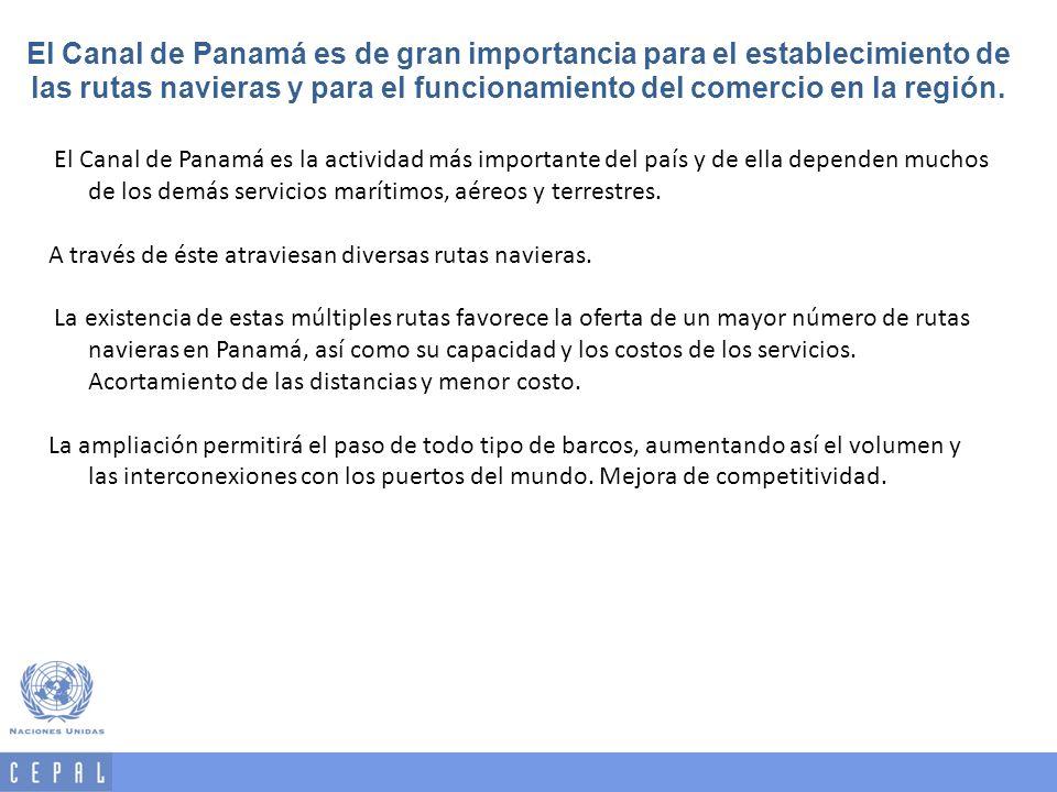 El Canal de Panamá es de gran importancia para el establecimiento de las rutas navieras y para el funcionamiento del comercio en la región.
