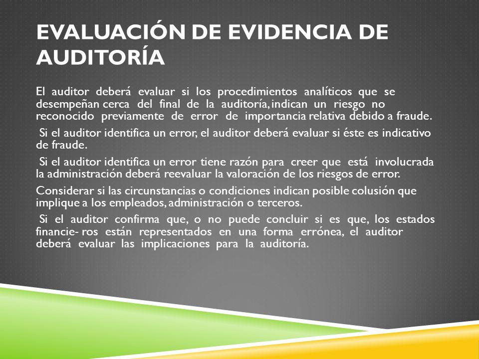 Evaluación de evidencia de auditoría