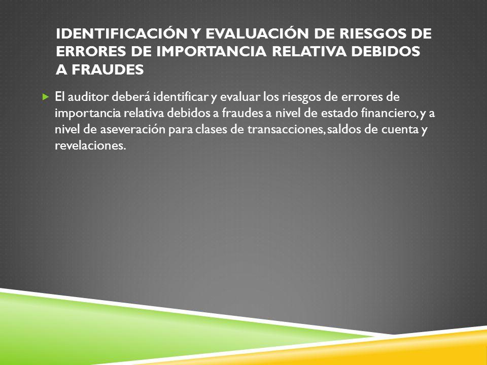 Identificación y evaluación de riesgos de errores de importancia relativa debidos a fraudes