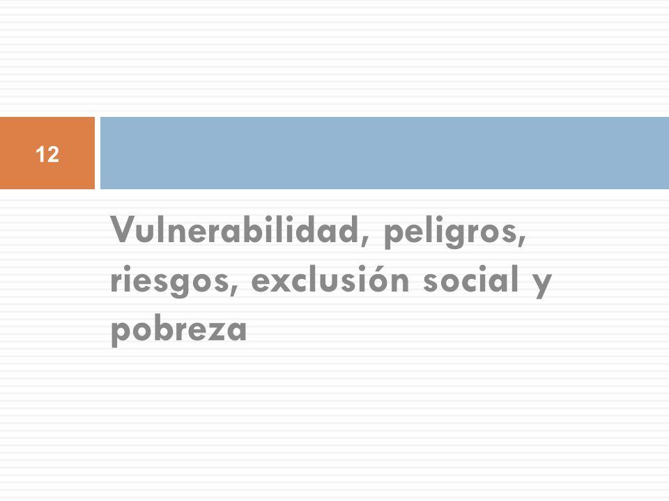 Vulnerabilidad, peligros, riesgos, exclusión social y pobreza