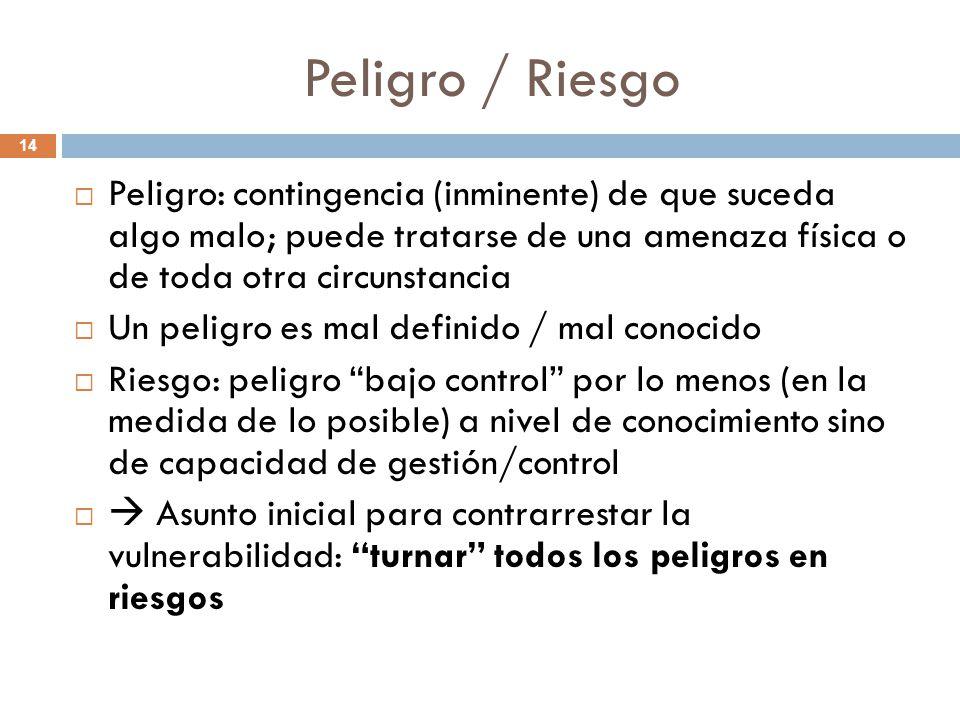 Peligro / Riesgo Peligro: contingencia (inminente) de que suceda algo malo; puede tratarse de una amenaza física o de toda otra circunstancia.