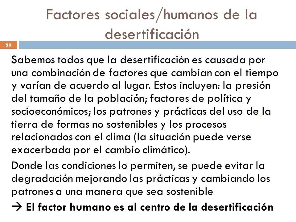 Factores sociales/humanos de la desertificación