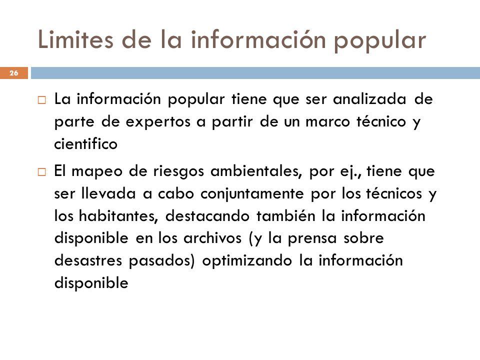 Limites de la información popular