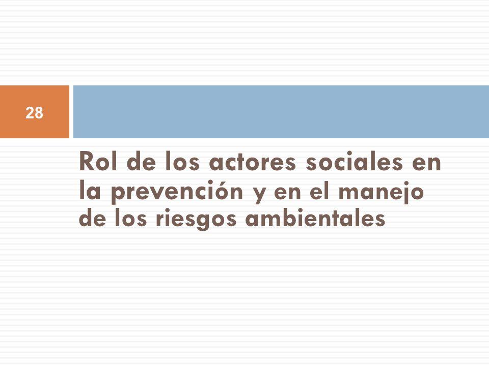 Rol de los actores sociales en la prevención y en el manejo de los riesgos ambientales