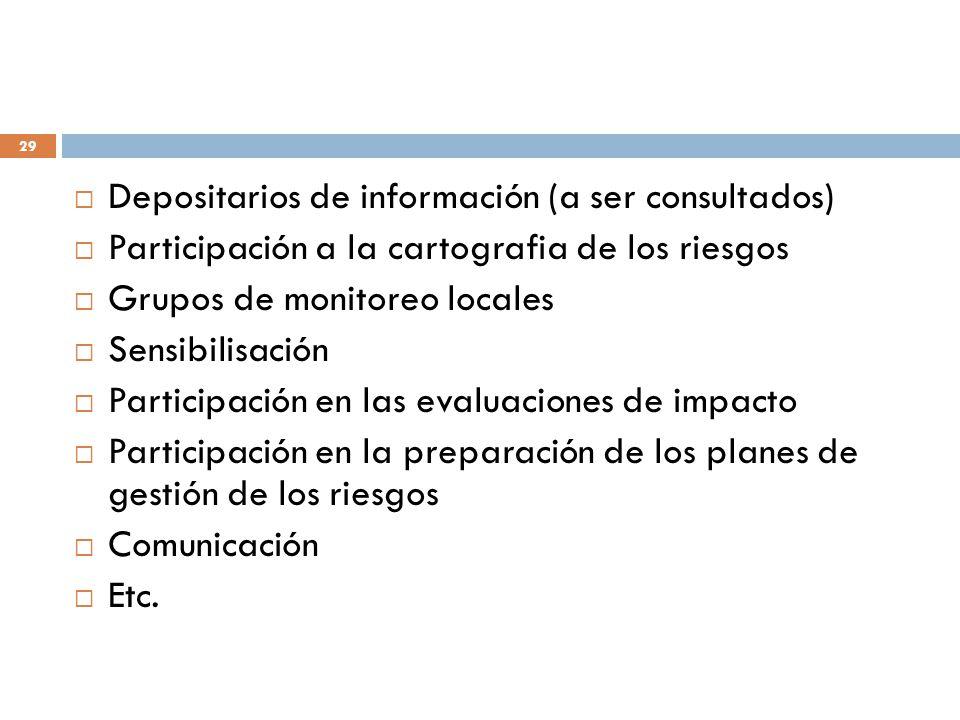 Depositarios de información (a ser consultados)