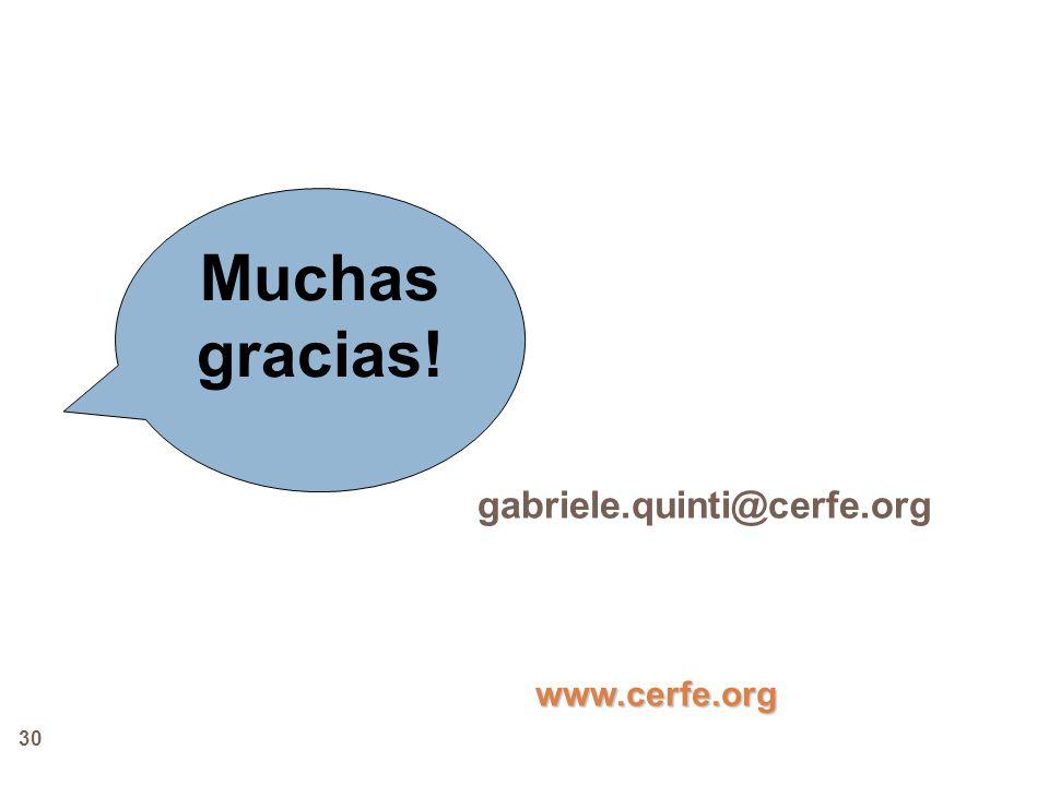 Muchas gracias! gabriele.quinti@cerfe.org www.cerfe.org