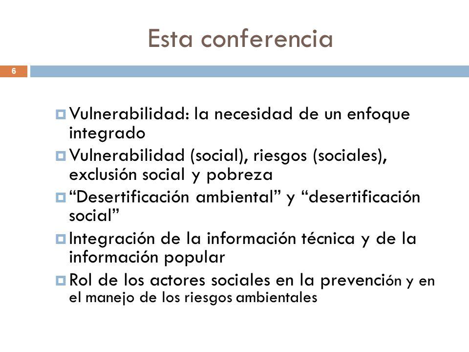 Esta conferencia Vulnerabilidad: la necesidad de un enfoque integrado