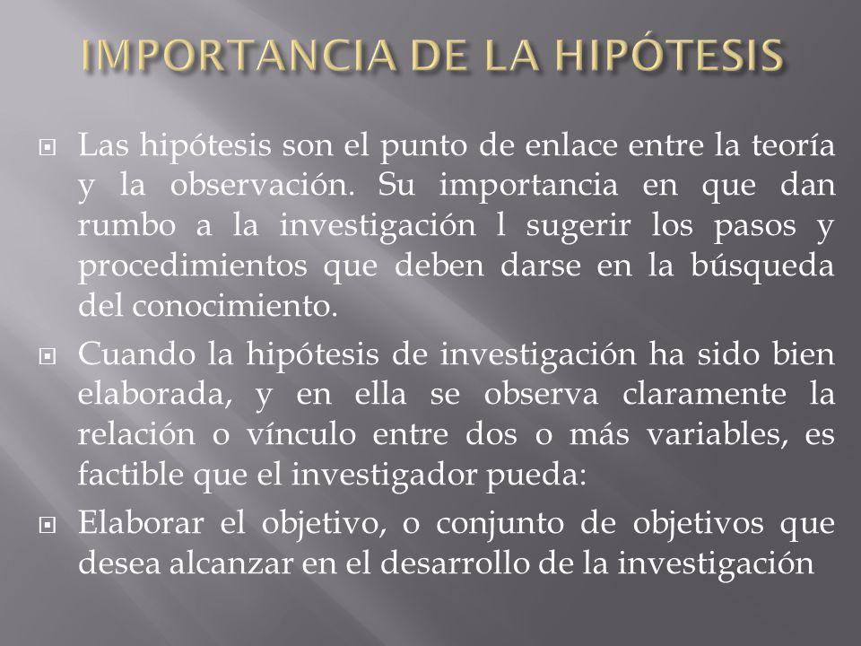 IMPORTANCIA DE LA HIPÓTESIS