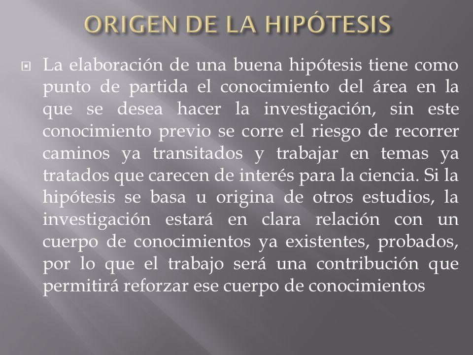 ORIGEN DE LA HIPÓTESIS