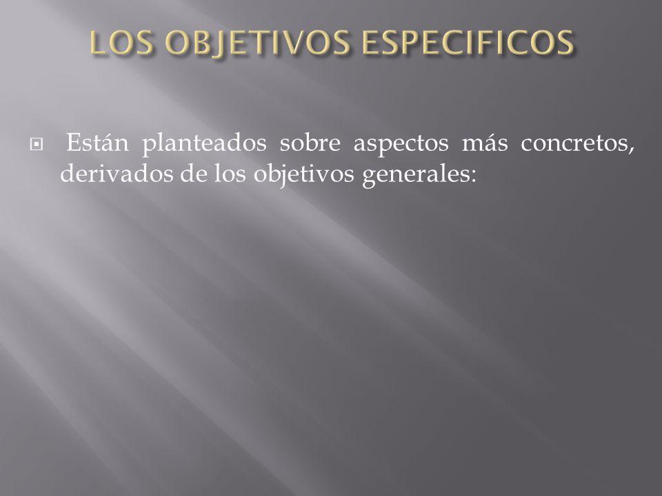 LOS OBJETIVOS ESPECIFICOS