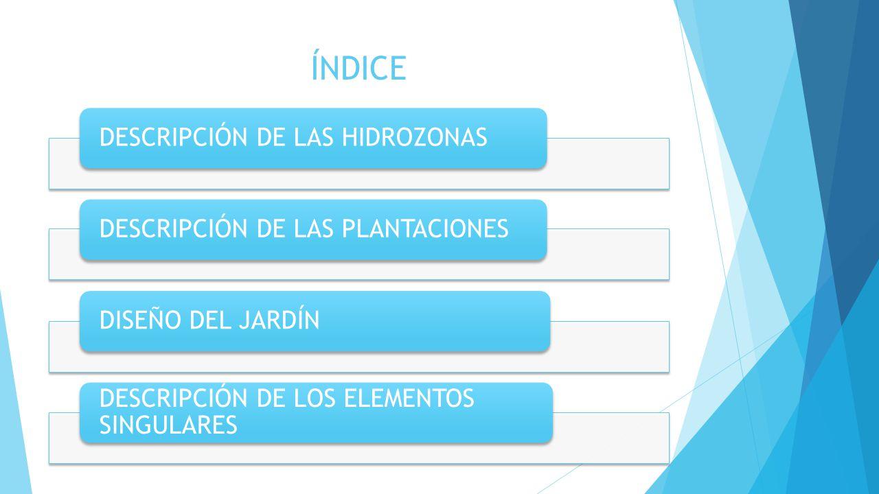ÍNDICE DESCRIPCIÓN DE LAS HIDROZONAS DESCRIPCIÓN DE LAS PLANTACIONES