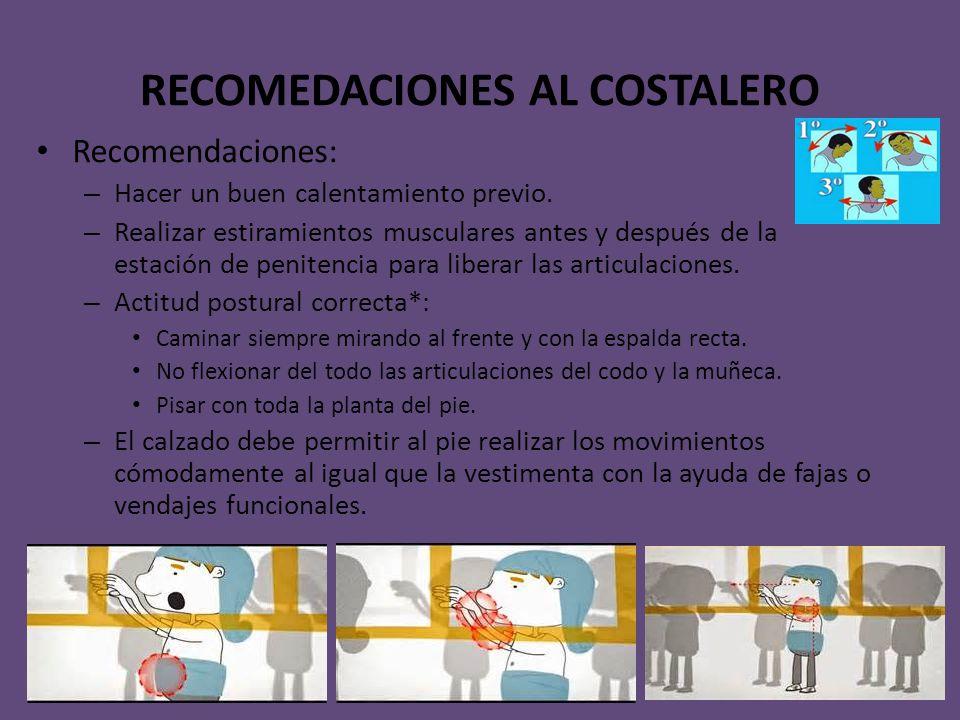 RECOMEDACIONES AL COSTALERO