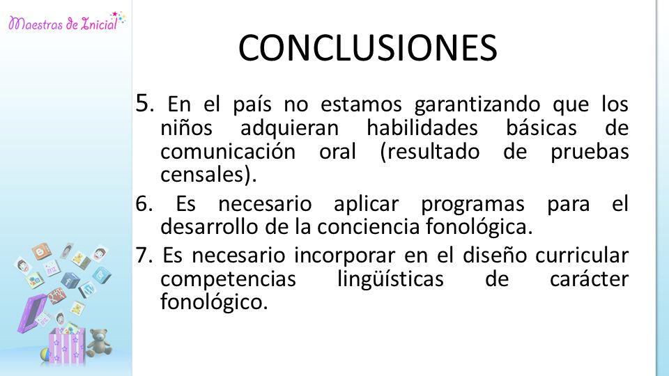 CONCLUSIONES 5. En el país no estamos garantizando que los niños adquieran habilidades básicas de comunicación oral (resultado de pruebas censales).