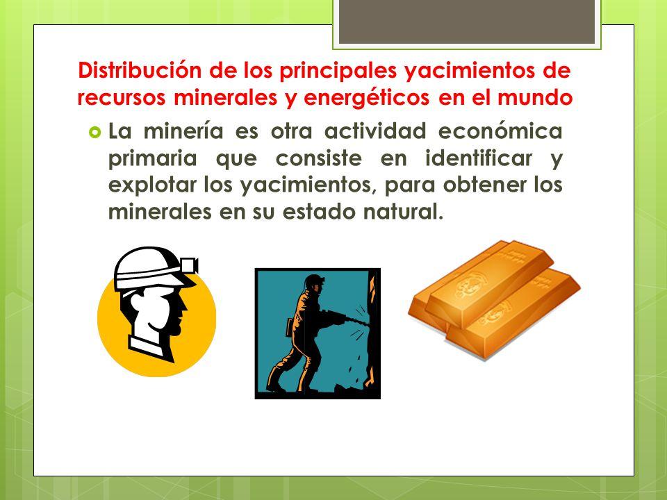 Distribución de los principales yacimientos de recursos minerales y energéticos en el mundo