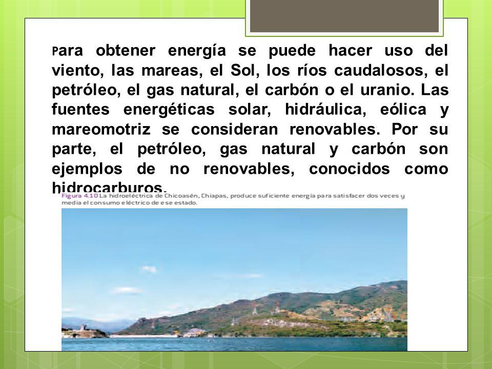 Para obtener energía se puede hacer uso del viento, las mareas, el Sol, los ríos caudalosos, el petróleo, el gas natural, el carbón o el uranio.