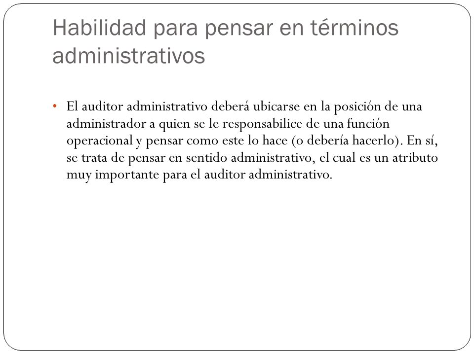 Habilidad para pensar en términos administrativos