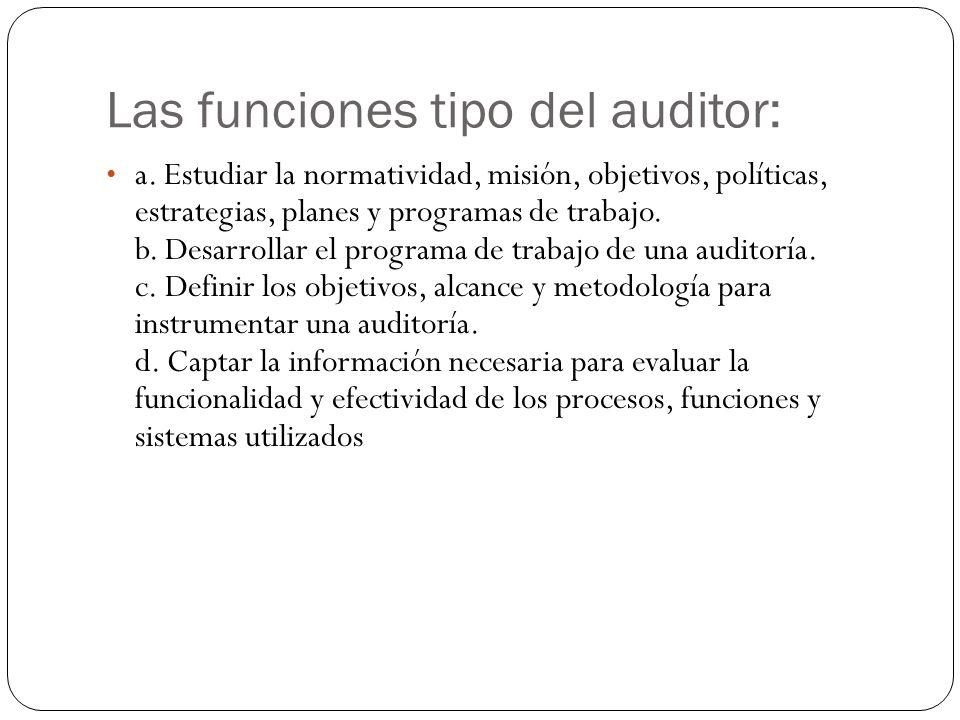 Las funciones tipo del auditor: