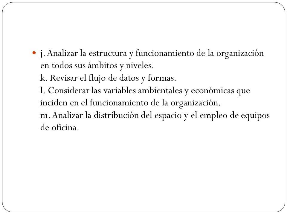 j. Analizar la estructura y funcionamiento de la organización en todos sus ámbitos y niveles.