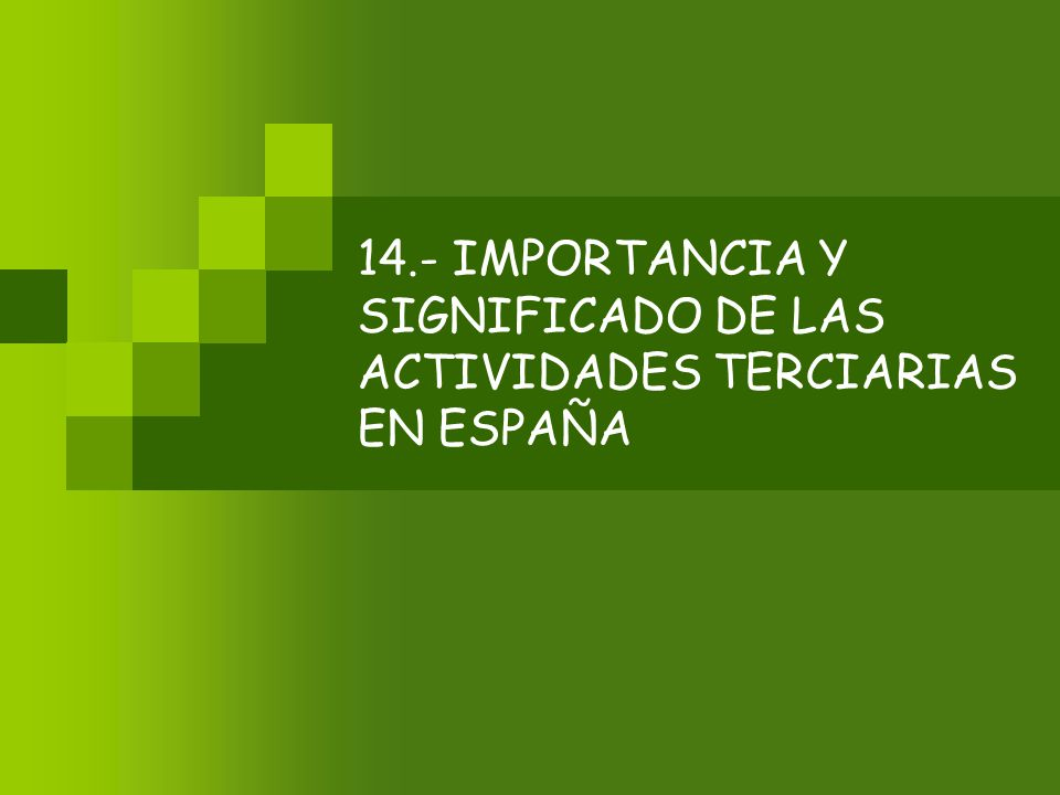 14.- IMPORTANCIA Y SIGNIFICADO DE LAS ACTIVIDADES TERCIARIAS EN ESPAÑA