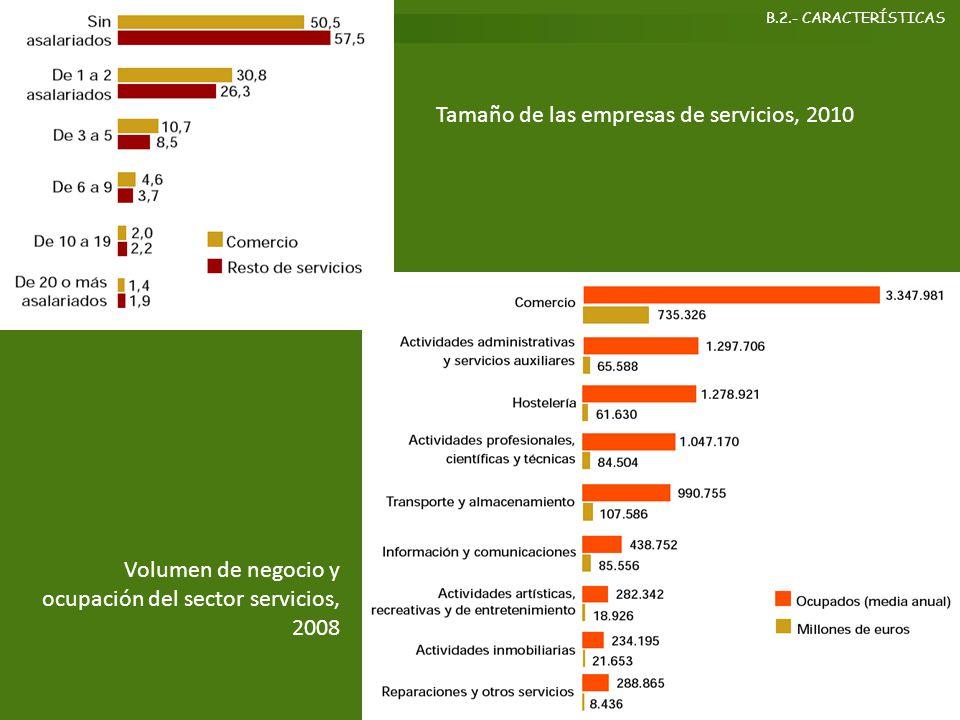 Tamaño de las empresas de servicios, 2010