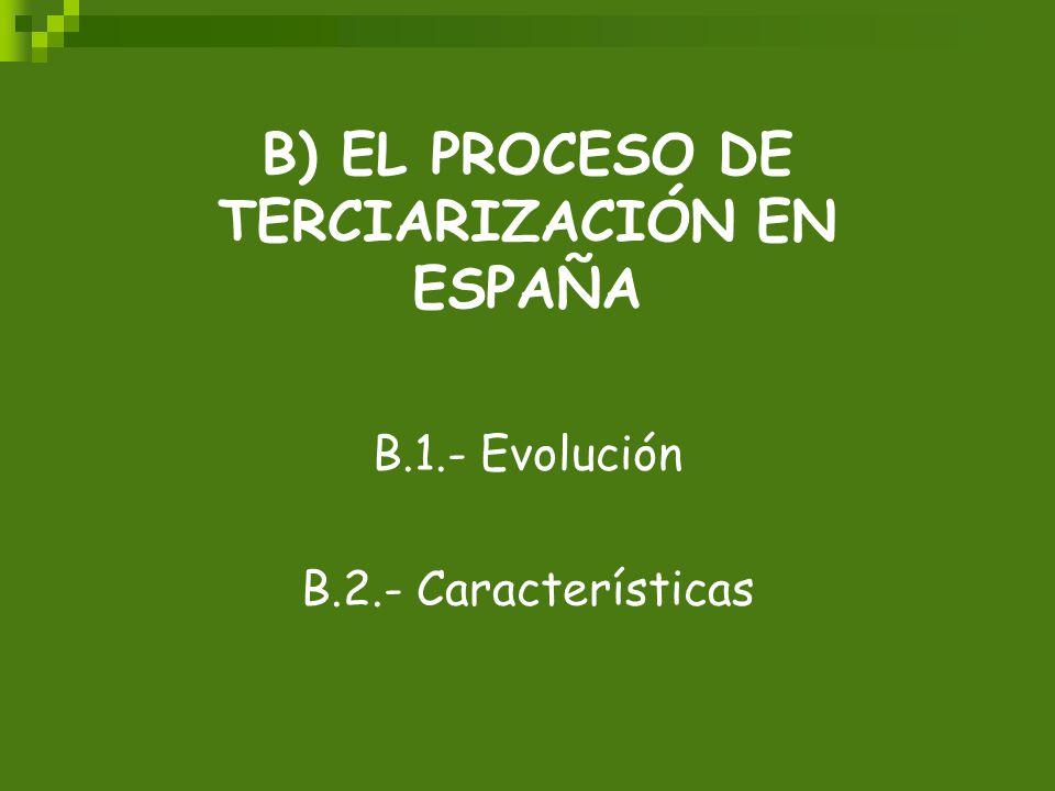 B) EL PROCESO DE TERCIARIZACIÓN EN ESPAÑA