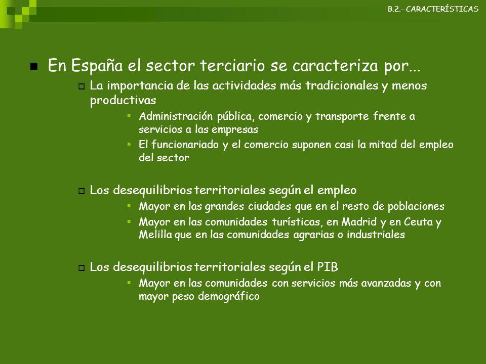 En España el sector terciario se caracteriza por...