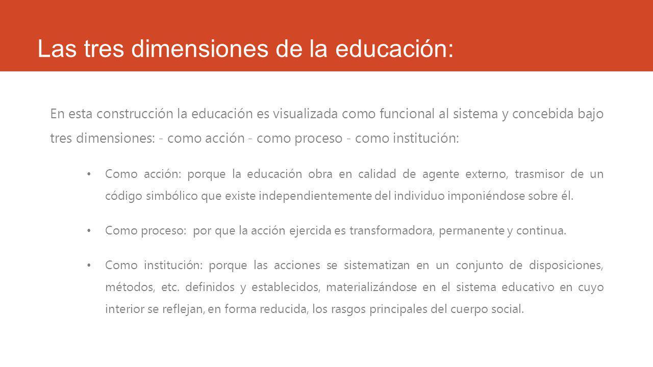 Las tres dimensiones de la educación:
