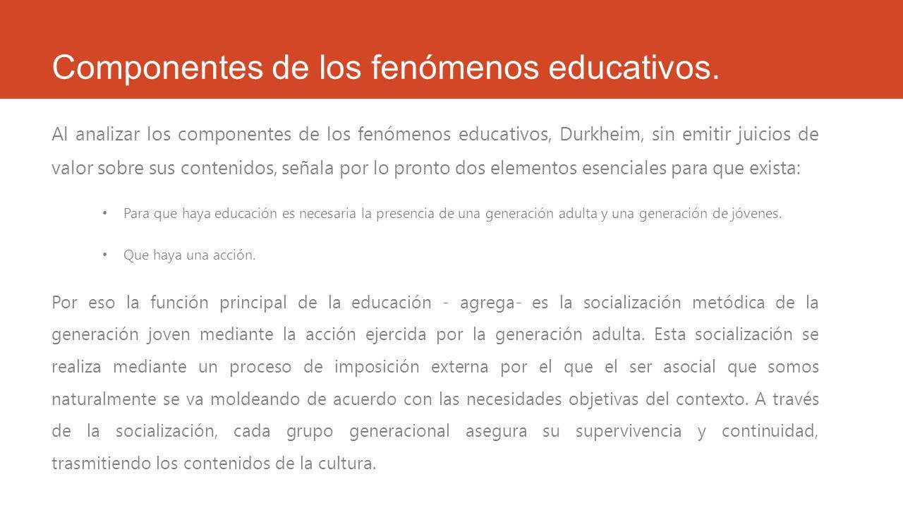 Componentes de los fenómenos educativos.