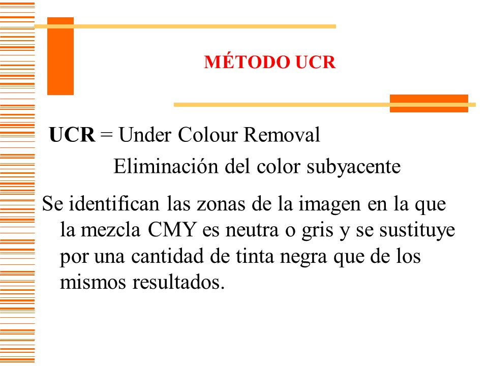 UCR = Under Colour Removal Eliminación del color subyacente