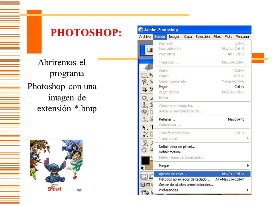 Photoshop con una imagen de extensión *.bmp